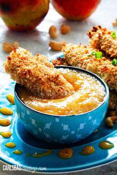 Crispy Cashew Coconut Crusted Chicken Tenders with Mango Honey Dip via @carlsbadcraving