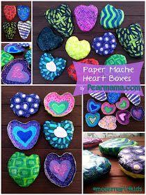 Pearmama: Paper Mache Heart Boxes #modernart4kids