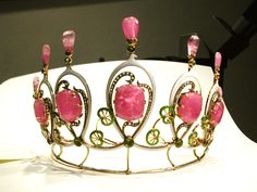 Antique Tiara, Austria (19th c.; pink tourmalines, enamel, gold).