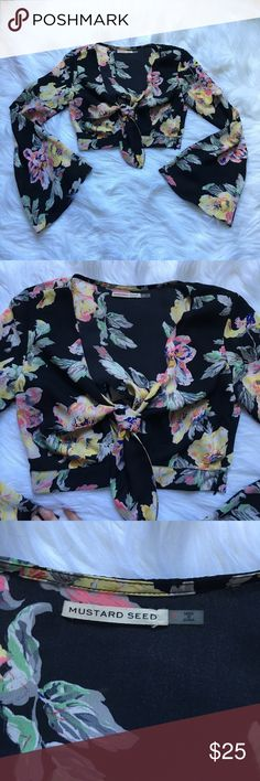 Stitch Fix Mustard Seed Floral Peasant Crop Top Excellent condition with no flaws and tons of life left! NO TRADES PLEASE Stitch Fix Tops Crop Tops