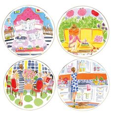 kate spade new york Illustrated Tidbit Plates Set of 4 from Lenox by lenox com on HavetoHave.com