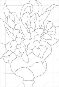 Stained Glass Pattern - Vase of Flowers Stained Glass Quilt, Stained Glass Flowers, Faux Stained Glass, Stained Glass Designs, Stained Glass Panels, Stained Glass Projects, Stained Glass Patterns, Mosaic Patterns, Mosaic Crafts