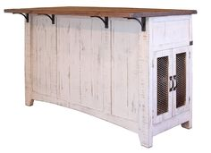 Greenview Kitchen Island - Distressed White - Crafters & Weavers - 3