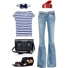 weekend office by pichimichiko on Polyvore featuring MANGO, Goldsign, H&M, Lipsy, Vanzetti, bow, stripes, weekend and flaredjeans