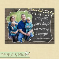 Rustic Wood and Chalkboard Photo Christmas Card by MochaAndMint