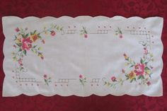Vintage Table Runner Off White Linen Embroidered Flowers