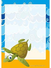 Papier voor de schrijfhoek bioj thema schildpad, kleuters / Papier à lettre Mer à imprimer