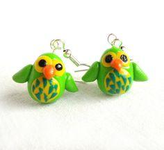 Green owl earrings handmade animal jewelry bird