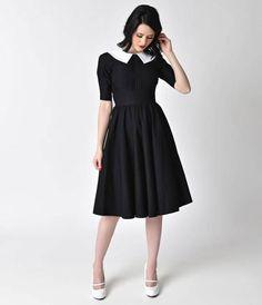 Stop Staring! 1950s Style Black Half Sleeve Almira Swing Dress