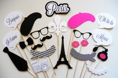 The Photo Props - Party like a French Diva! How to Plan a Fabulous Bridal Shower with Paris Theme - EverAfterGuide Photos Booth, Photo Booth Props, Paris Party, Paris Theme, Thema Paris, Bolo Paris, Paris Bridal Shower, Bridal Showers, Paris Birthday