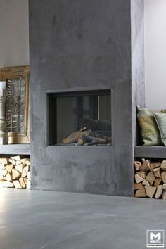 45 Beste traditionelle und moderne Kamin Design-Ideen Fotos & Bilder Best Traditional and Modern Fireplace Design Ideas Photos & Pictures Industrieel interieur industrial interior industrieële kachel offener kamin Grey Fireplace, Concrete Fireplace, Home Fireplace, Fireplace Surrounds, Fireplace Design, Fireplace Ideas, Fireplace Modern, Traditional Fireplace, Concrete Wood