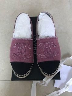 2017 100% Authentic Chanel Espadrilles Pink/Black Sz 37 Fit 36
