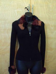 BEBE Ladies Top Rabbit Fur Collar Zip Up Sweater Size S #bebe #KnitTop