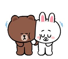Friends Gif, Line Friends, Cute Couple Cartoon, Cute Cartoon, Strong Black Man, Bear Gif, Cony Brown, I Love You Pictures, Cute Love Gif
