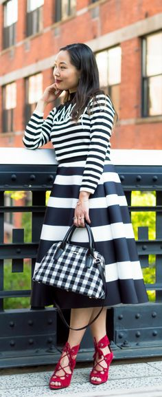 Black and white outfit, black and white outfit stripes, classic feminine style. Shop the look on www.layersofchic.com
