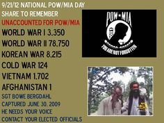 #POW #MIA   Like & Share in honor of all POW/MIAs in observance of POW/MIA Recognition Day.