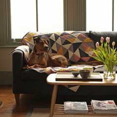 Geometric Dog Sofa Throw Quilt by eastendbestfriend on Etsy Couch Throws, Sofa Throw, Curved Couch, Quilted Throw Blanket, Quilted Throws, Simple Living Room Decor, Comfortable Living Rooms, Pink Quilts, Dogs