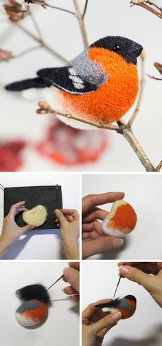 Felted brooch bullfinch step by step tutorial