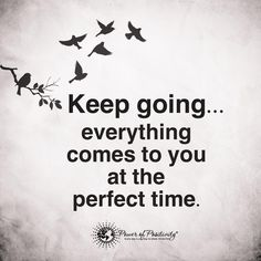 Keep going everything comes o you at the perfect time.  #powerofpositivity #positivewords #positivethinking #inspiration #quotes