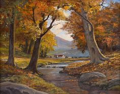 Robert Wood Autumn Landscape.  This image, although nice, is only a vague suggestion of what a Robert Wood painting looks like.  I was walking down the street once and passed by an art dealer.  I happened to glance up and there in the window was a real Robert Wood painting.  I was mesmerized, frozen still in my tracks (no joke).  I have never seen anything so beautiful...must have stood there starring for 20 minutes.  Would have purchased it on the spot but it was beyond my means.  Would…