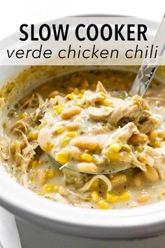 This slow cooker verde chicken chili is homemade full of flavor satisfying and easy to make. Add all the ingredients to the slow cooker and dinner is done when you get home! Get creative with your toppings or use what you have on hand! Chili Recipes, Slow Cooker Recipes, Gourmet Recipes, Crockpot Recipes, Soup Recipes, Dinner Recipes, Cooking Recipes, Healthy Recipes, Chicken Recipes