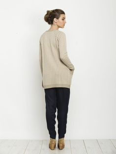 Cardigans – Women beige jacquard sweater knitted cardigan – a unique product by AndyVeEirn on DaWanda