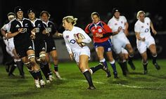 Alice Richardson of England with the ball against New Zealand