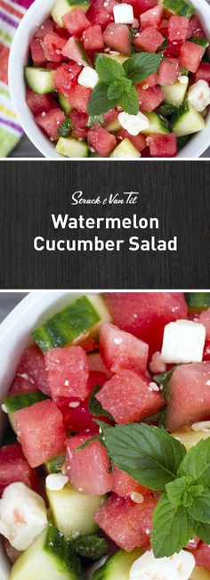 Combine watermelon, cucumber and mint for a refreshing summer salad.