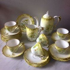 Antique Lime Green Unmark Coffeeset Made in France with flower handle pattern