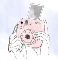 Fujifilm instax mini illustration - ink & watercolour