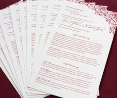 wedding programs, ceremony programs, wedding day by invitations by ajalon - zena motif