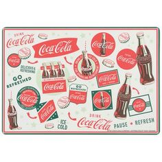 This set of four 13 x 19 in placemats feature world-recognized slogans and images of the Coca-Cola company. Easy to clean and store.