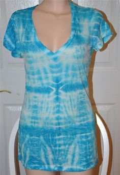 SEXY AQUA BLUE S/S V-NECK T-SHIRT CLEAVAGE TEE TOP T-TOP TIE DYED CASUAL SHIRT L