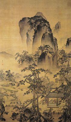 Zhu Duan( 朱端) , 《松院闲吟图》  明 朱端 . 朱端,字克正,号一樵,海盐人。生卒年不详。明代正德年间的宫廷画家,正德中直仁智殿,授指挥。他的山水画,一方面受当时流行宫内的南宋院体画风影响,近马远;另一方面,也有专学北宋郭熙的一路。
