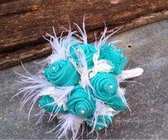 GypsyFarmGirl Jade burlap, lace, and feather wedding bouquet