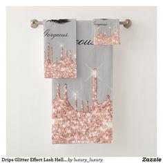 Drips Glitter Effect Lash Hello Beauty Rose Gray Bath Towel Set Grey Bath Towels, Bath Towel Sets, Bathroom Towels, Hand Towels, Glitter Home Decor, Grey Baths, Beauty Elegant, Bridal Beauty, Hello Gorgeous