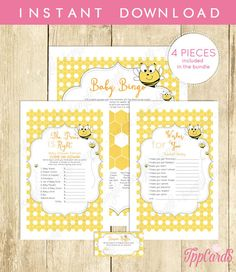 Bumble Bee Baby Shower Game Pack Baby Shower Games Printable Bingo Price Is Right Wish For Baby Diaper Raffle Games Bundle 0015A by TppCardS #tppcards #printable #invitations