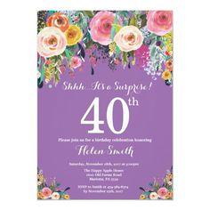 Purple Floral Surprise 40th Birthday Invitation Adult Birthday Party, 16th Birthday, Surprise Birthday, Birthday Ideas, Glitter Invitations, Custom Invitations, Invites, 90th Birthday Invitations, Hot Pink Background