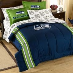 Seattle seahawks 5-piece full bed set This NFL Seattle Seahawks 5-piece full bed set will add big-league style to any bedroom.