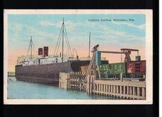 1926 Car Ferry Loading - Milwaukee Wisconsin Post Card