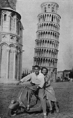 Riding a Vintage Italian Vespa - Pisa Italy, Circa 1950's.