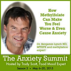 """On the #Anxiety Summit today …Dr. Benjamin Lynch ND, MTHFR and methylation expert, """"How Methylfolate can make you Feel Worse & even Cause Anxiety"""" Just because you have MTHFR doesn't mean you're screwed!  Don't look at MTHFR as a bad thing It just means you have to do things differently Be proactive and don't be scared about it http://www.everywomanover29.com/blog/anxiety-summit-methylfolate-anxiety"""