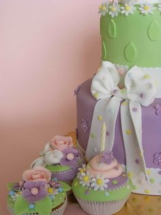 purple and green cupcakes