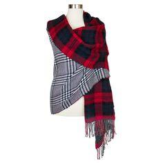 Women's Oversized Reversible Plaid Blanket Wrap ... : Target