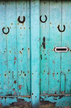 """Found in Manchester, turquoise door with ancient horse shoes, original Fine Art photo giclee print, 8"""" x 12"""" - Art print - Photography print. £18.50, via Etsy."""