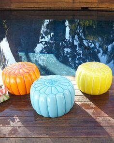 Shop Outdoor Moroccan Pouf at Horchow, where you'll find new lower shipping on hundreds of home furnishings and gifts. Outdoor Pouf, Outdoor Seating, Outdoor Dining, Outdoor Decor, Outdoor Spaces, Outdoor Ideas, Outdoor Lounge, Patio Ideas, Backyard Ideas