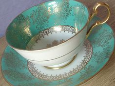 oh this would be perfect for a cup of lady grey tea Antique Turquoise green tea cup and saucer by ShoponSherman, Tea Cup Set, Tea Cup Saucer, Tea Sets, Vintage Dishes, Vintage Tea, Vintage China, Meneses, Green Tea Cups, China Cups And Saucers