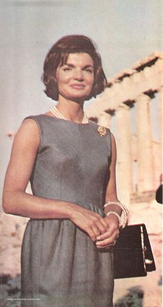 """First Lady Mrs ~~Jacqueline Lee (Bouvier) Kennedy Onassis """"Jackie"""" (July 28, 1929 – May 19, 1994). She is remembered for her contributions to the arts and preservation of historic architecture, her style, elegance, and grace. She was a fashion icon; her famous ensemble of pink Chanel suit and matching pillbox hat has become symbolic of her husband's assassination and one of the lasting images of the 1960s ❃❋✽✾❀❃  Jackie Kennedy on vacation in Greece, scanned from a 1966 photobook"""