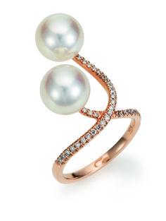 Yana Nesper Pearls: X-Ring - Südseeperlen mit Brillanten, Rotgold 750