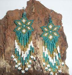 Native American Beaded Earrings Shooting Star Pattern   jstinson - Jewelry on ArtFire